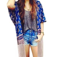 best fight shorts - w1025 Best seller Autumn Printed Fight Side Tassel Sleeve Casual Kimono Cardigan