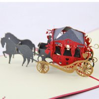 Cheap Luxury coach stereoscopic 3D cube life Greeting Card retro wagon 2015 3D Handmade Card 3D Pop UP Gift Greeting 3D Blessing Cards Paper Silho
