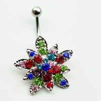 acrylic items - 0029 Newest items colorful sunflower style navel belly ring mix colors stone drop shipping