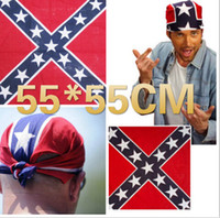 Wholesale 55 cm Confederate Rebel Flag Bandanas Flag Print Bandana Headbands For Adult Bandanas Two Sides Printed