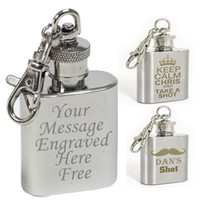 Wholesale FREE Personalised Engraved oz Stainless Steel Hip Flask Keyring