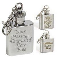 Acheter Gravent flacon-FREE personnalisé gravé 1 oz en acier inoxydable flasque flacon Keyring LIVRAISON GRATUITE