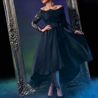 dress dubai - High Low Dubai Evening Dresses Black A Line Saudi Arabia Middle East Lace Sheer Long Sleeve Prom Party Gowns Vestidos Formal Wear