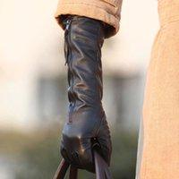 leather gloves - 2015 Winter Women Black Genuine Leather Gloves Long Style Sheepskin Gloves Warm Elbow Zipper Leather Gloves YC3127