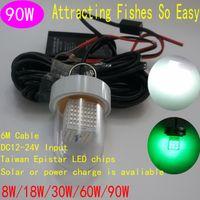 Глубоководные огни Цены-Солнечный свет Приманки рыболовные огни IP68 Deep Water Белый свет Рыбалка Лодка Bait 90W DC12V к 24V док рыбалки огни