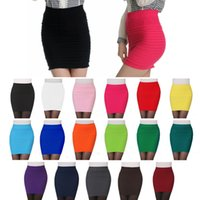 Wholesale Hot Sales Women Lady Sexy Mini Pencil Stretch Skirts Dress Seamless Tight Hips Pleated Multi Colors QX162