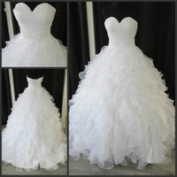 Cheap Stunning Empire Wedding Dresses Real Image Organza Sweetheart Sash Beads Sequins Ruffle Train Tiers Luxury Bridal Gown Ball Custom Made