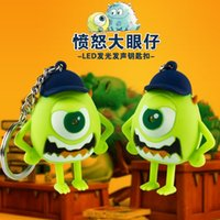 baseball keyring - Pixar characters LED Sound Key chain Angry Mr Q with baseball cap Keyring fashion accessory Promotional Gift wholesale10pcs