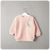 berber fleece pullover - Children s clothing autumn new arrival rabbit embroidery berber fleece pullover sweatshirt fleece coat