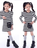 decorative bags - 2015 spring new girls dress Korean style stripe with Decorative bags kids dresses long Fly sleeve children clothing age ab115