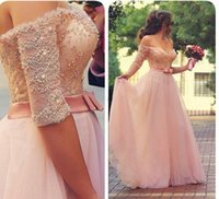 Wholesale 2015 Romantic Pink Prom Dresses Sweetheart Off Shoulder Half Sleeves Lace Tulle Full Length Backless Evening Gown Formal Dresses Custom Made