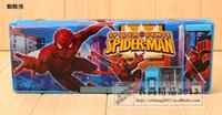 Wholesale by FEDEX Spiderman Stationery Set Pencil Case Cartoon Pen Cases Pencil Box For School