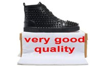 Cheap men spikes Red Bottom Shoes black Genuine Leather High-Top studs Red Sole shoes women flat Lace-up Casual shoes