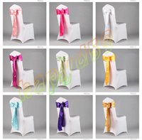 Wholesale high quality wedding party hotel chair back cover flower bow satin chair covers back yarn decorative ribbon flower sashes free ship