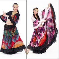 Cheap Wholesale-720 Degree Printed BellyDance Tribal Maxi Belly Dance Gypsy Costume Clothes Women Long Gypsy Skirts