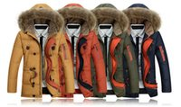 Wholesale 2015 NEW Winter Men Duck Down Fur Collar Coat Outerwear Warm Hooded Parka Jacket