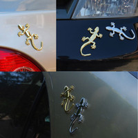 Wholesale Universal Car stickers Styling D Covers Gecko Shape Chrome Badge Emblem Decal Motor Decor Metalic Truck Decor Cool Solid