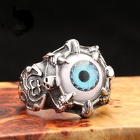Wholesale Fashion Jewelry Stainless Steel Mens Vintage Biker Black Gothic Skull Dragon Claw Evil Eye Ring USA Size