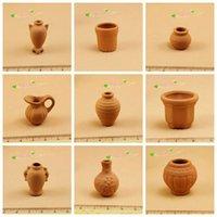 terra cotta pots - 10pcs Miniatures Terra Cotta Vase Pots Vintage Jugs Toys Pottery Dollhouses