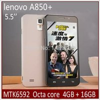 Wholesale 2015 New Lenovo A850 MTK6592 Octa Core Android Wifi G WCDMA Smart Phone Dual Sim GPS Show G LTE GB ROM Unlocked phone quot IPS Gift