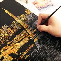 Wholesale 2015 Creative World of Building City at Night Postcard Scratch Night View Night Scraping Scratch Drawing world Sightseeing Free Wooden Pen