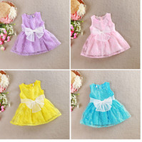 Wholesale 4 colors Girls Dress Summer New baby girls lace bow floral sleeveless vest dress children clothes