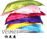 Wholesale Free Ship Pair Satin Silk Solid pillowslips pillow cases pillow covers bedding comfortable cheap good quality