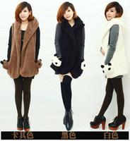 Wholesale-2015 Autumn Winter Womens Ladie Designer Faux Lamb Fur Long Vest Jacket Coat Cute Bear Pocket Design Free Shipping