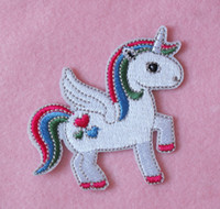 iron on patches for kids - Free Shpping New unicorn cartoon Embroidered Iron On Patch Applique cute girls DIY Accessory for kids Badge High Quality cm