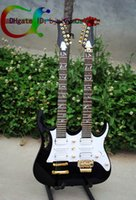 double neck guitar - Custom Double Neck Electric Guitar VV Dark blue Gold Hardware Strings Strings Double Neck Guitar
