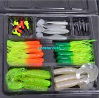 Wholesale 35pcs Soft Worm Bait Lure Lead Jig Head Hooks Combination Set Simulation Suite Soft Bait Carp Fishing Lure Tackle