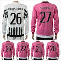 Wholesale Cheap thai Gianluigi Buffon Long Sleeve Alex Sandro Strip pink Alvaro Morata Soccer Jersey Giorgio Chiellini Full Shirt set