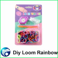 Cheap Hot Diy Knitting Braided Loom Watch Rainbow Kit Rubber Loom Bands Self-Made Silicone Bracelet