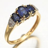 10kt gold jewelry - Fashion sale size to Jewelry Rings ladies Blue Sapphire Stamp KT Party Gift Yellow Gold Filled Rings for women s R009YBS