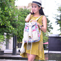 art canvas letters - Newest Fashion Floral Print Canvas Backpacks for Women Rucksack Ladies Bucket Back Pack Purse from High Quality Unique Cloth Art