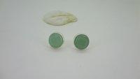 aquamarine gemstone earrings - May Birthstone Faceted Aventurine Gemstone Silver Plate Aquamarine chalcedony studs earrings