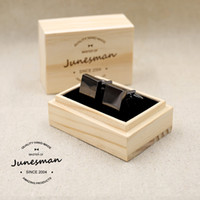 Wholesale June man hand carved custom cufflinks French cuff shirt sleeve nail square buckle calm black thick b300