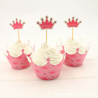 baby shower cake topper - Pink Princess Crown cupcake wrapper topper birthday party favors kids cup cake toppers picks baby shower supplies