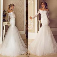 Wholesale Hot Sale Long Sleeves Wedding Dresses Off the Shoulder Mermaid Bridal Gowns Elegant Lace Tulle Portrait Long Brides Wear Vestido De Novia