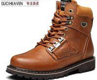 Wholesale 2016 New Fashion Brown Guciheaven Men Genuine Leather Riding Boots Shoes Warm Boots Men s Leather Shoes Outdoor Sports Mens Riding Boots