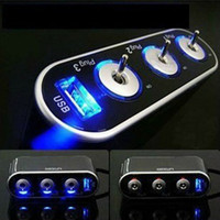Wholesale Scolour Hot Way Triple Car Cigarette Lighter Socket Splitter V V USB LED Light Switch