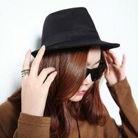 Wholesale New Fashion Women Men Hat Curly Floppy Brim British Jazz Hip Hop Fedora Hat Cap Unisex Black Top Quality chapeu GA0050
