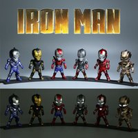 achat en gros de action man voiture-6pcs / Set Les Vainqueurs Iron Man 3 MK42 2 3 LED Flash Light PVC Figurines Figurines Collectibles Modèle Jouets War Machine Car Ornaments4