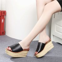 Wholesale 2015 Women Sandals Summer Shoes High Heels Clogs Open Toe Slides Platform Wedge Mules Plus Size