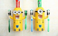 bear dispenser - 2016 design Cartoon Toothbrush Holders Despicable Me Minions Boys Girls Bears Automatic Toothpaste Dispenser with Brush Cup