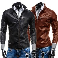 2015 PU Leather Jacket Mens Stand Collar Autumn New Men's leather Jacket Locomotive style Slim Fit Clothing Black Brown