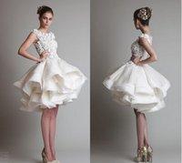 wedding grown dress - 2015 krikor jabotian short lace A line wedding dresses ivory bateau cap sleeves backless knee length chiffon Ball grown Bridal dress BO3887