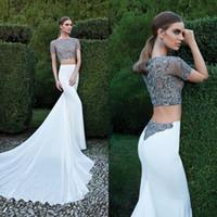 Cheap Tarik Ediz 2015 Sheath Hot Sale Prom Dress White Chiffon Two-Piece Sheer Neck Lace Bodice Short Sleeve Designer Evening Gowns