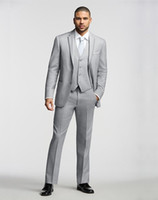 Wholesale Two Buttons Light Grey Notch Lapel Groom Tuxedos Groomsmen Mens Wedding Tuxedos Clothing Prom Suits Jacket Pants Vest Tie AA1186