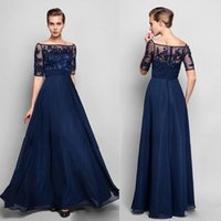 Cheap Navy Blue Evening Dresses 2015 Elie Saab Half Sleeves Beaded Chiffon Off Shoulder Formal A Line Mother of the Bride Gowns